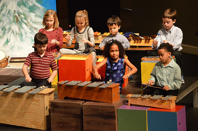"2nd grade students performed polyphonic accompaniments using tremelo, arpegiated drones, moving drones, levels and various ostinatos to create the mood for ""Arise."""
